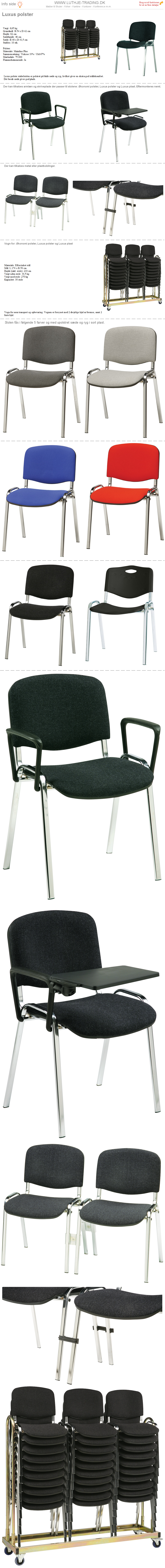 Stabelstol Luxus polster med sort/grå stof