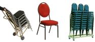 Stabelstol Banquet billig model med stålstel og polstret med rød stof med nistmønster