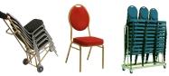 Stabelstol Banquet billig model med guld malet stålstel og polstret med rød stof med nistmønster