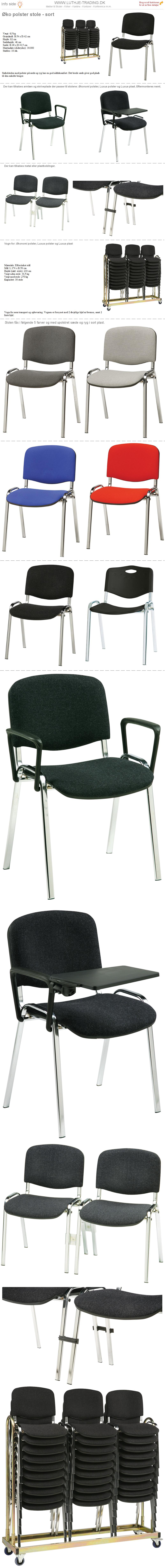 Stabelstol Øko polster med sort stof